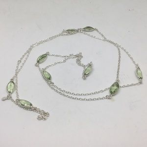 "Long Green Amethyst Silver Necklace 32""-36"""
